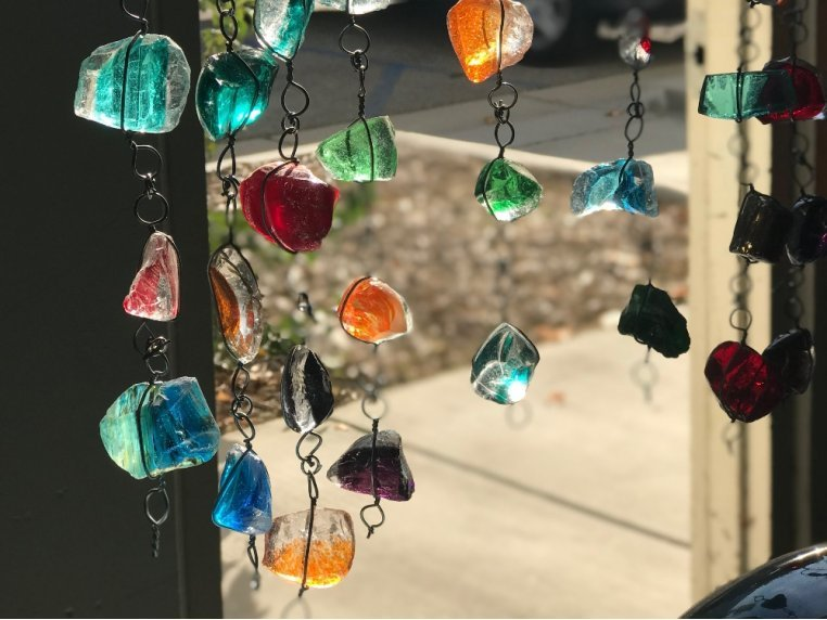 Recycled Art Glass & Rock Rain Chain by ApricotMint - 1