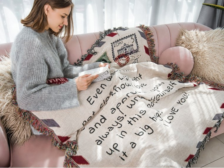 Personalized Woven Message Blanket by MentionedYou - 3