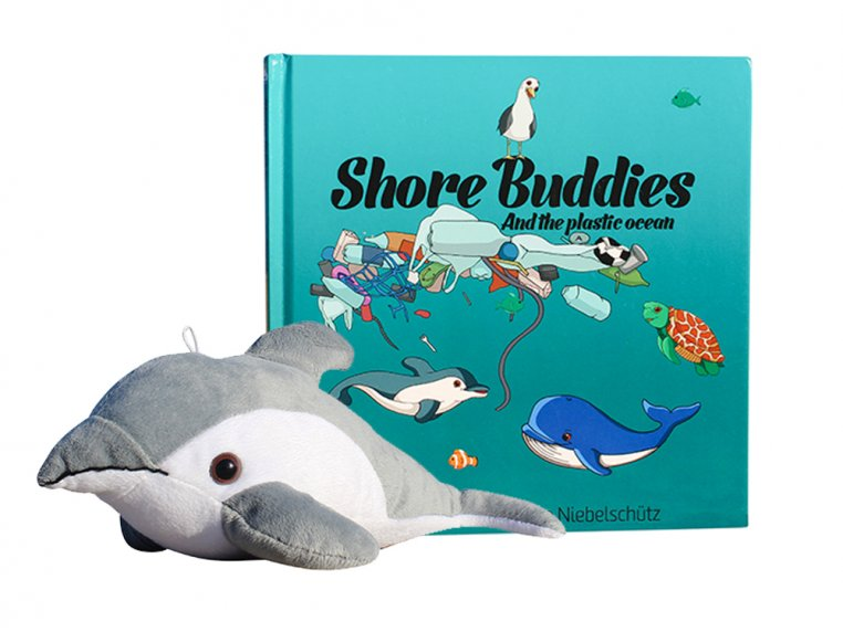 Recycled Bottle Stuffed Dolphin & Book by Shore Buddies - 2