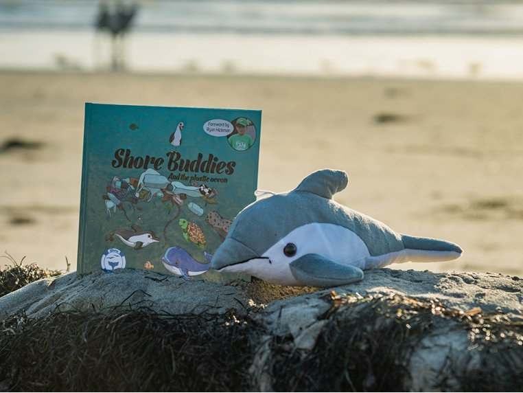 Recycled Bottle Stuffed Dolphin & Book by Shore Buddies - 1