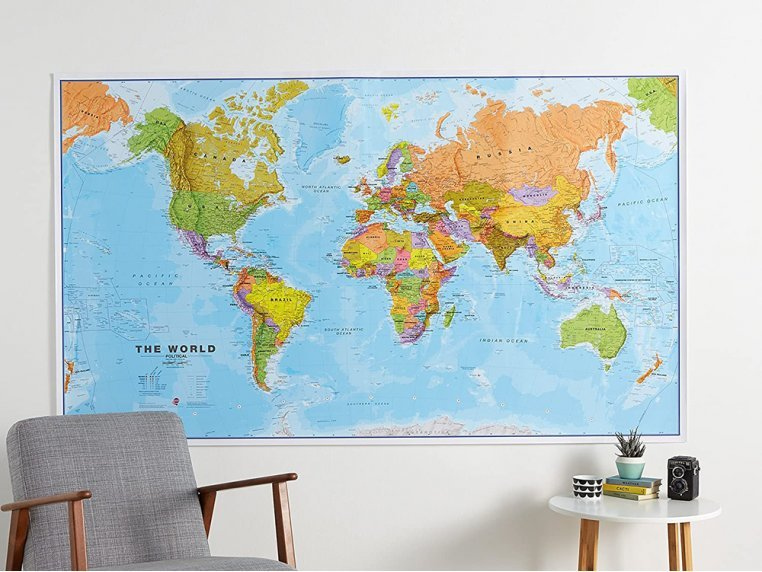 Giant Laminated World Wall Map The Grommet