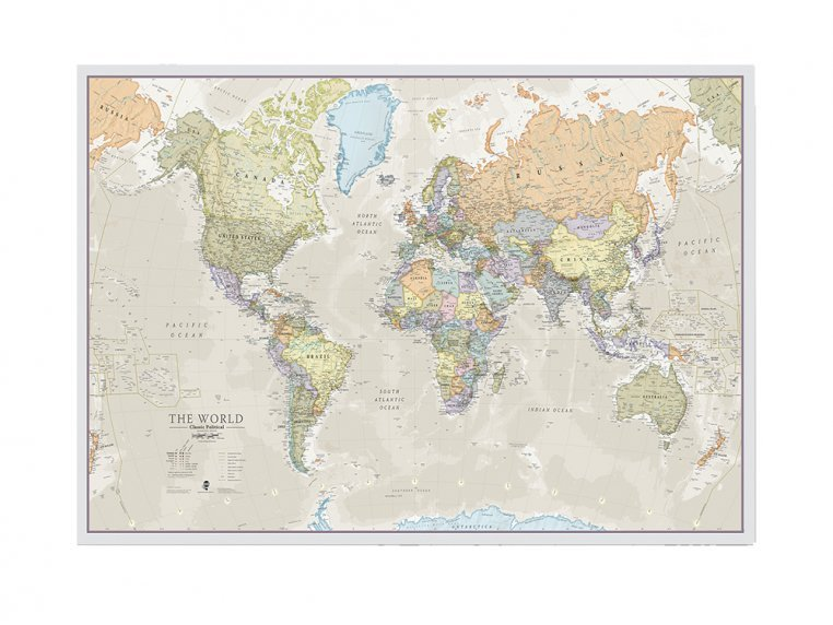 Classic Wall Map by Maps International - 2