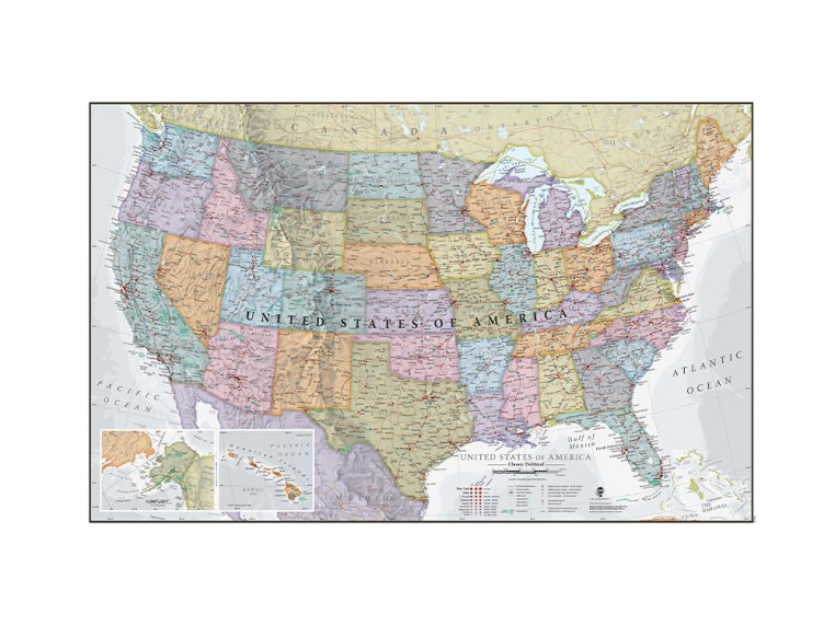 Classic Wall Map by Maps International - 3