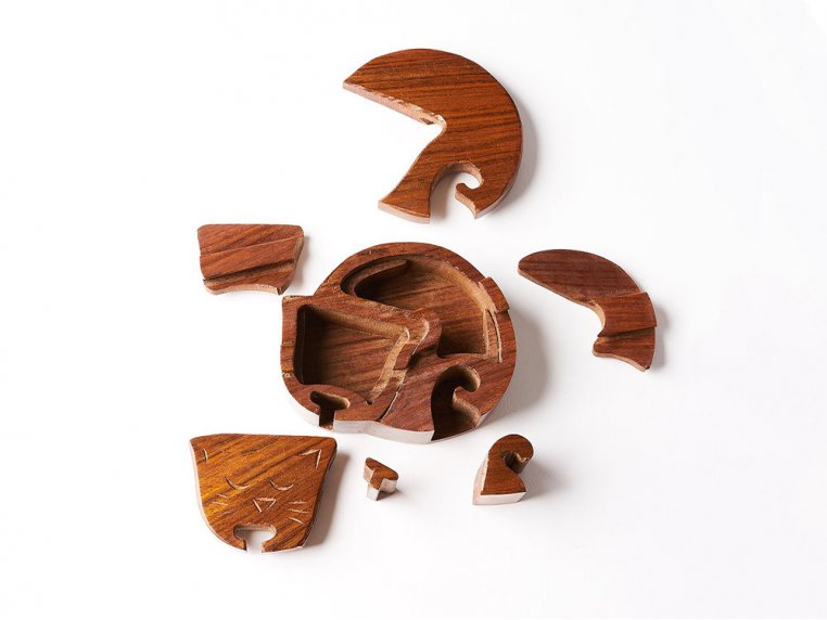 Hand Carved Wooden Puzzle Box by Matr Boomie - 3
