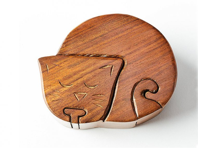 Hand Carved Wooden Puzzle Box by Matr Boomie - 5