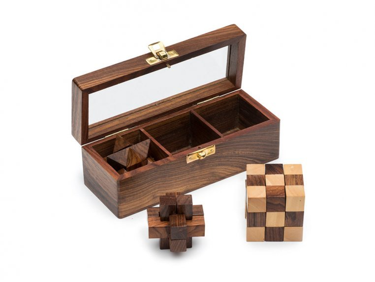 Wooden Geometric Novelty 3 Puzzle Set by Matr Boomie - 1