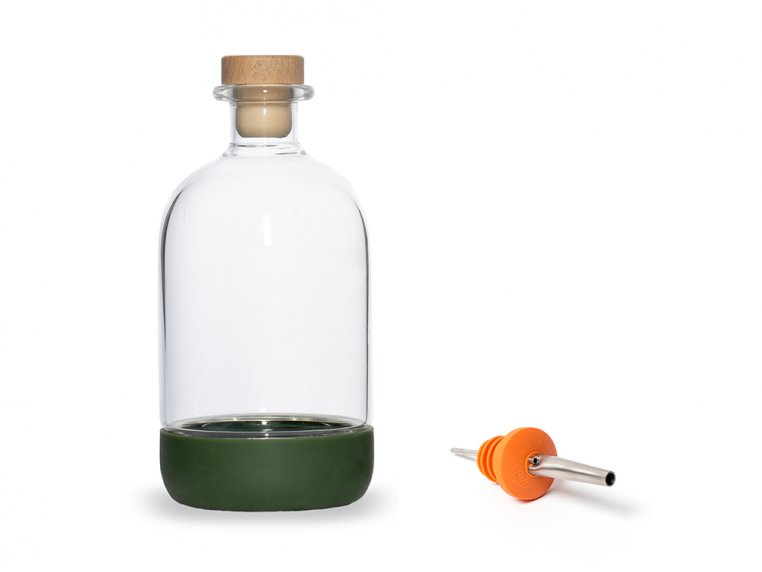 Chubby Glass Bottle & Pour Spout by Crew Supply Co. - 1