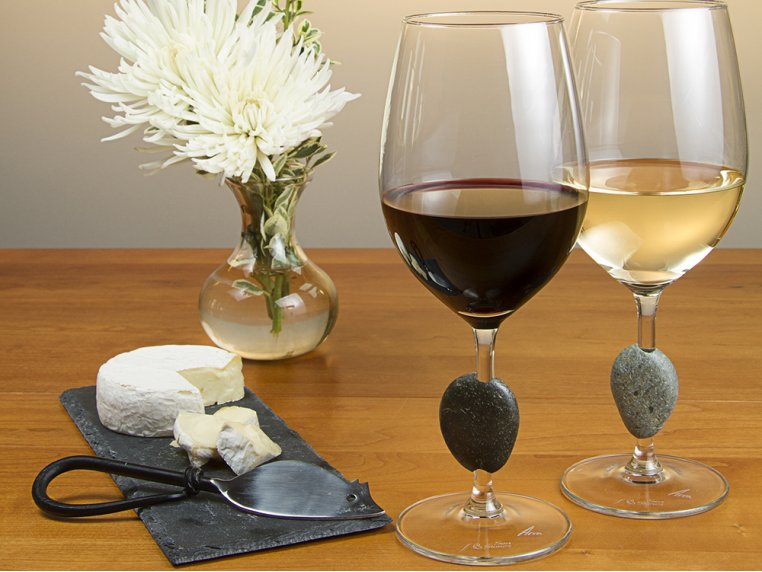 Stemmed Wine Glasses with Stones by Sea Stones - 2