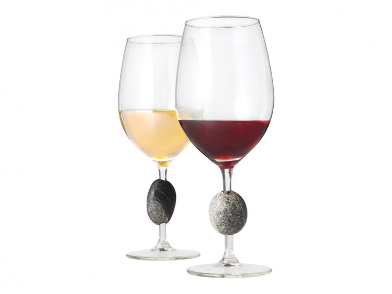 Stemmed Wine Glasses with Stones by Sea Stones - 1