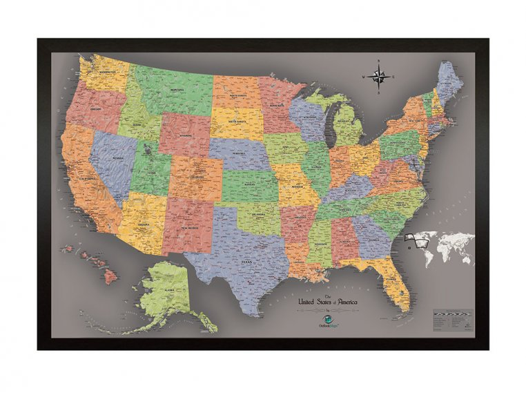 Framed Magnetic Travel Map by Wow Magnetic Maps - 1