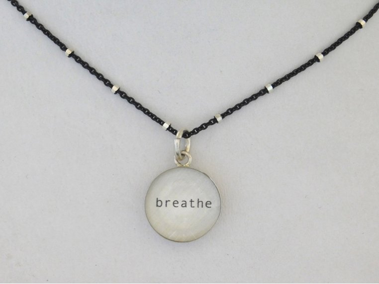 Silver Pendant Black Chain Necklace by Everyday Artifact - 6