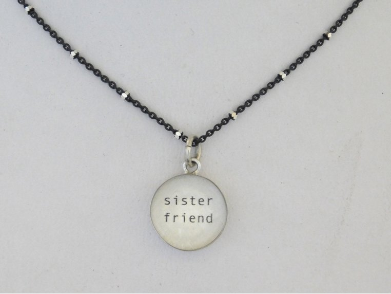 Silver Pendant Black Chain Necklace by Everyday Artifact - 7