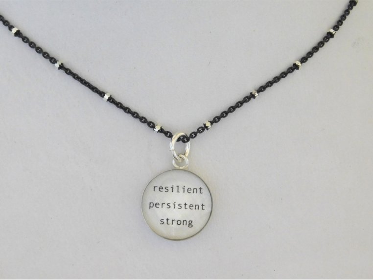Silver Pendant Black Chain Necklace by Everyday Artifact - 9