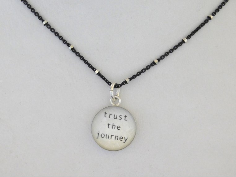 Silver Pendant Black Chain Necklace by Everyday Artifact - 10