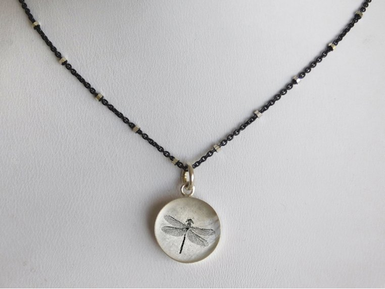 Silver Pendant Black Chain Necklace by Everyday Artifact - 16