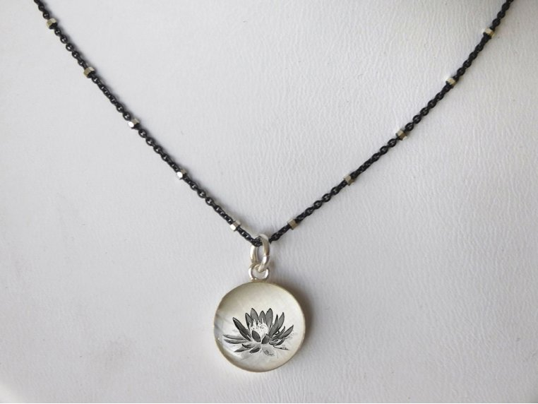 Silver Pendant Black Chain Necklace by Everyday Artifact - 19
