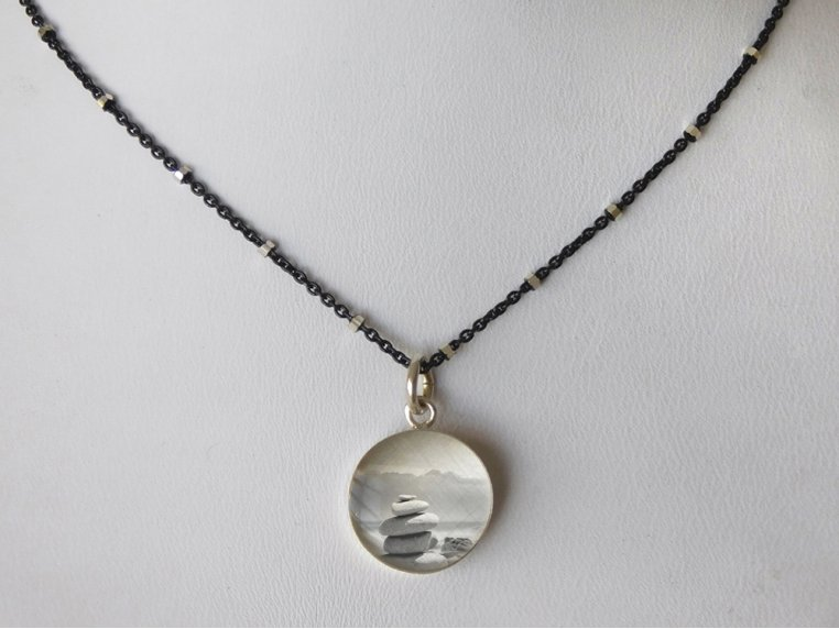 Silver Pendant Black Chain Necklace by Everyday Artifact - 20