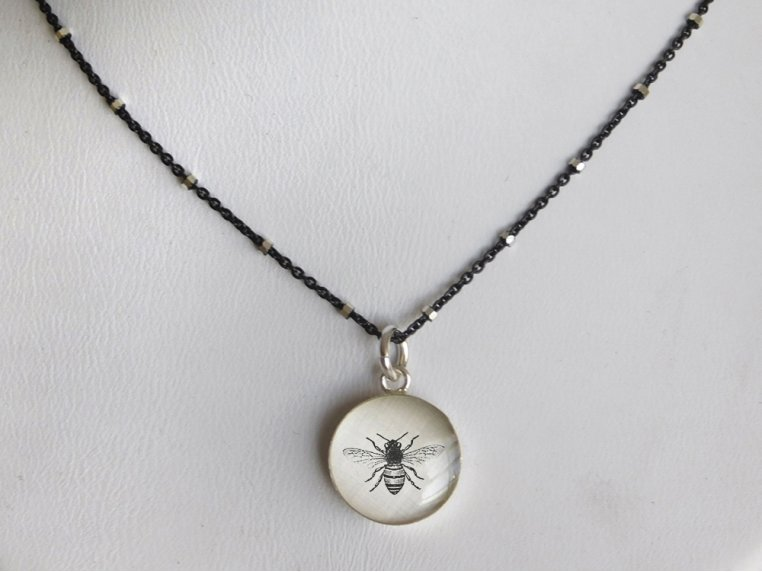 Silver Pendant Black Chain Necklace by Everyday Artifact - 21