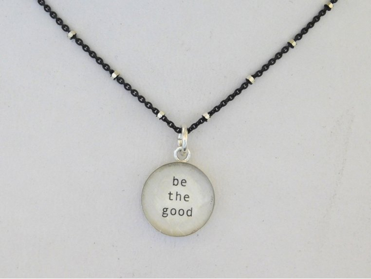 Silver Pendant Black Chain Necklace by Everyday Artifact - 13