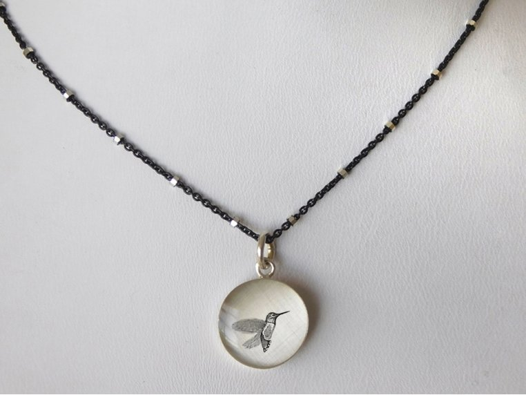 Silver Pendant Black Chain Necklace by Everyday Artifact - 14