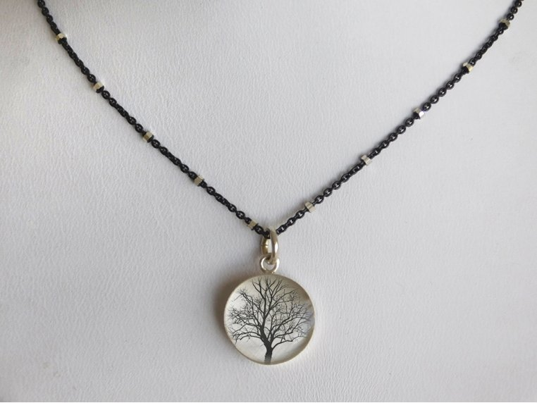 Silver Pendant Black Chain Necklace by Everyday Artifact - 15