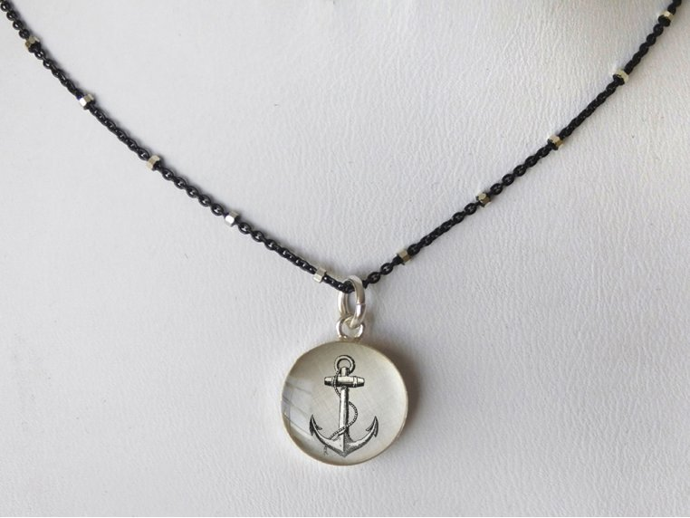 Silver Pendant Black Chain Necklace by Everyday Artifact - 24