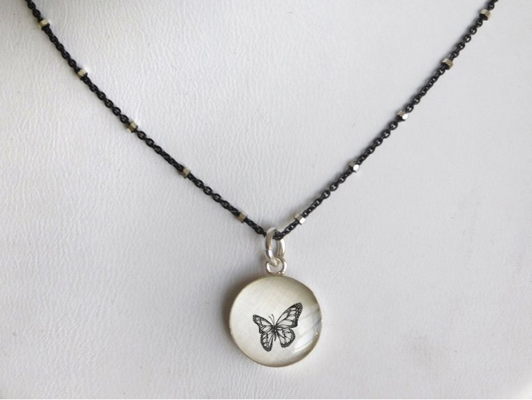 Silver Pendant Black Chain Necklace by Everyday Artifact - 25