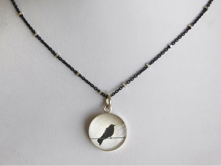 Silver Pendant Black Chain Necklace by Everyday Artifact - 30