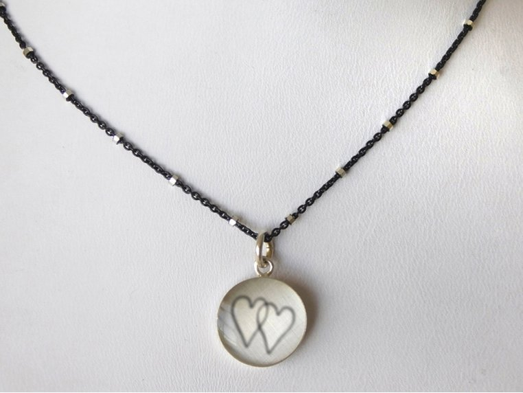 Silver Pendant Black Chain Necklace by Everyday Artifact - 32