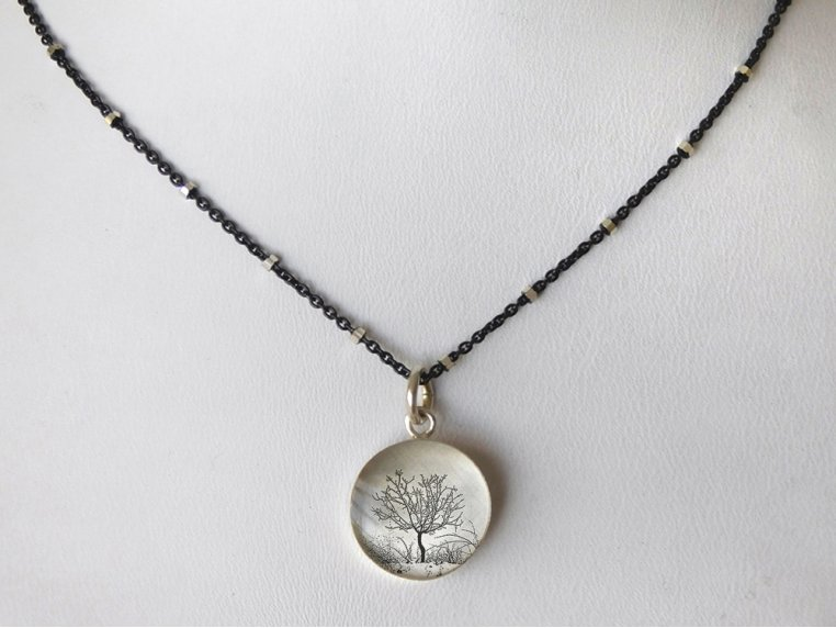 Silver Pendant Black Chain Necklace by Everyday Artifact - 34