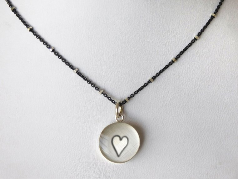 Silver Pendant Black Chain Necklace by Everyday Artifact - 35
