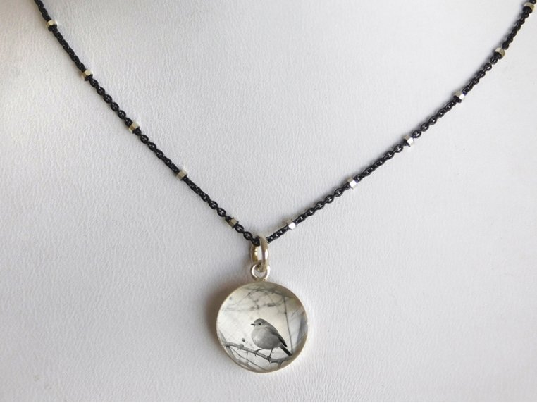 Silver Pendant Black Chain Necklace by Everyday Artifact - 37