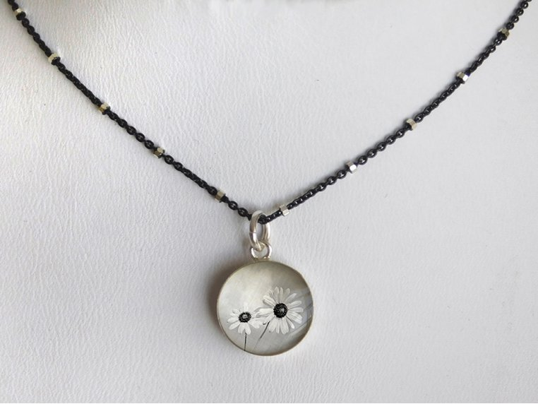 Silver Pendant Black Chain Necklace by Everyday Artifact - 38