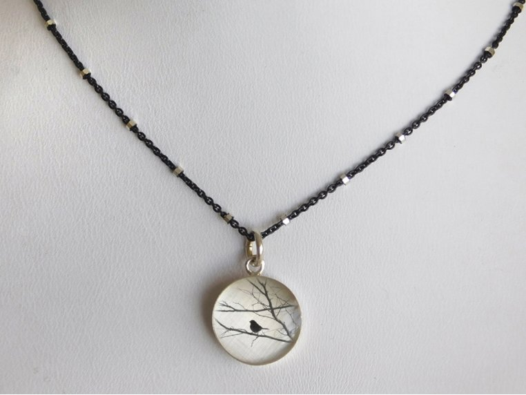 Silver Pendant Black Chain Necklace by Everyday Artifact - 39