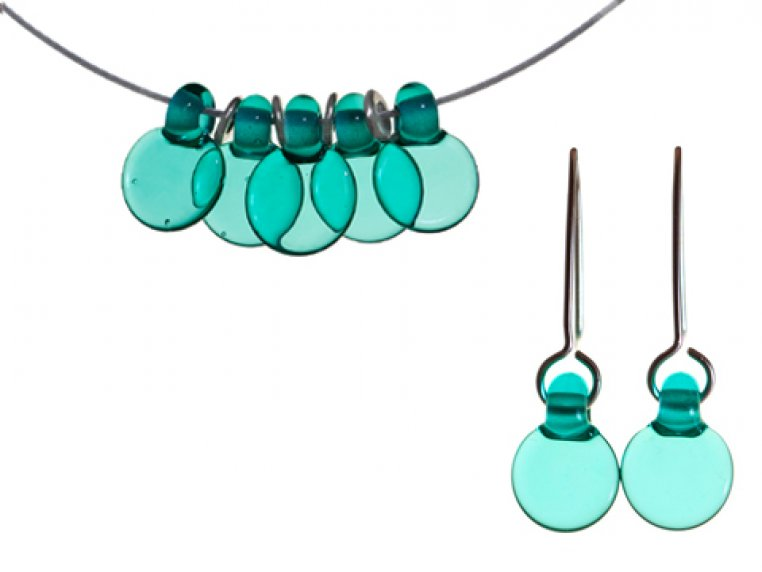 Set of Droplet 5 Disc & Earrings by FormFire Glassworks - 1