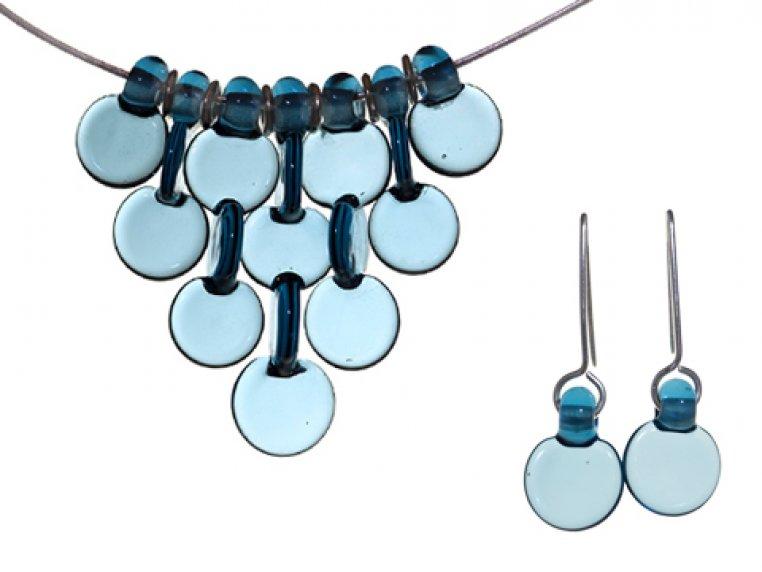 7 Disc Necklace & Earrings Set by FormFire Glassworks - 1