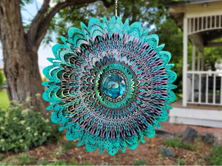 Metal Wind Spinner with Crystals Inside by Spinfinity Designs - 3