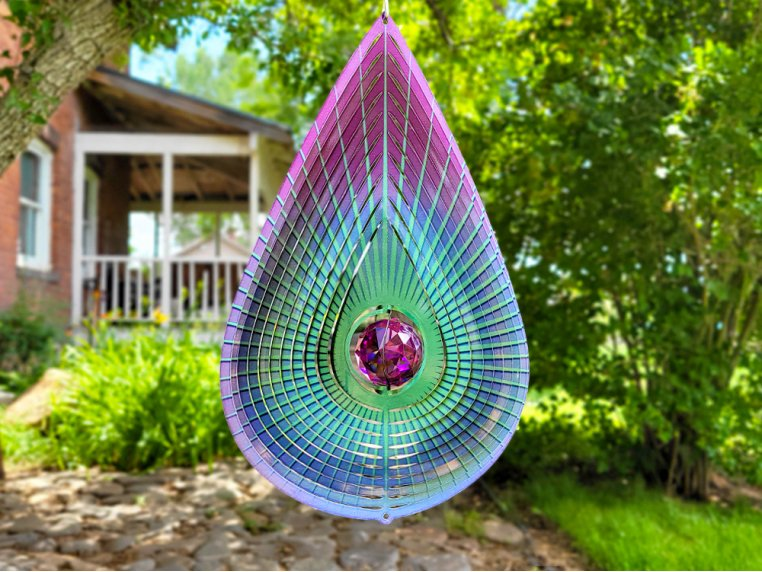 Metal Wind Spinner with Crystals Inside by Spinfinity Designs - 4