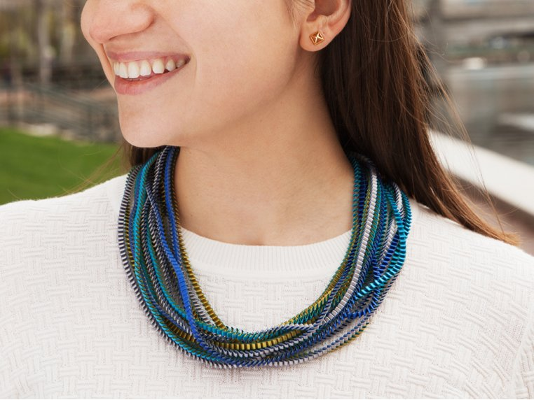 Multicolor Pleated Necklace by Minimum Design - 3