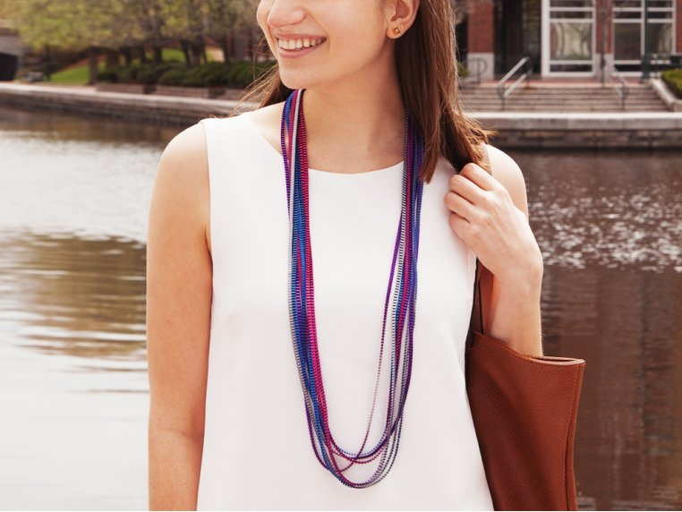 Multicolor Pleated Necklace by Minimum Design - 1