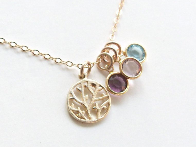 Family Tree Necklace + 6 Birthstones by Vintage Stamp Jewels - 4