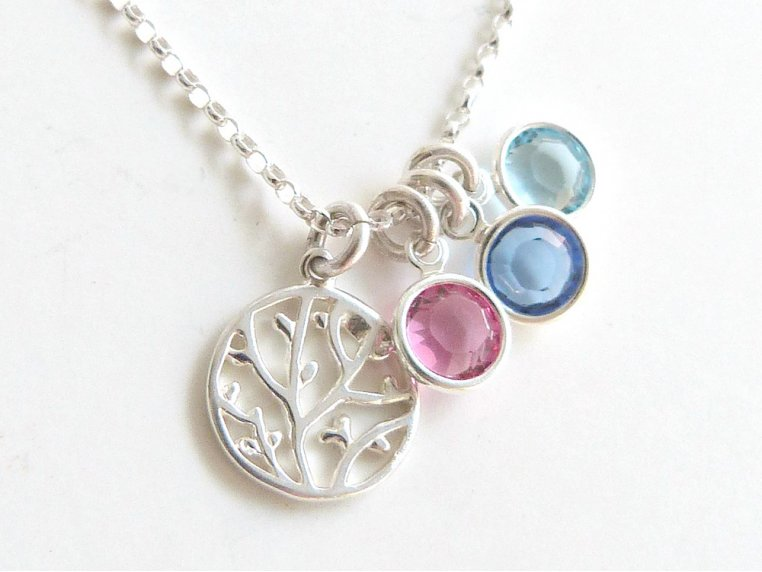 Family Tree Necklace + 4 Birthstones by Vintage Stamp Jewels - 5