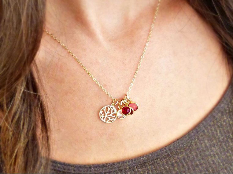 Family Tree Necklace + 6 Birthstones by Vintage Stamp Jewels - 2