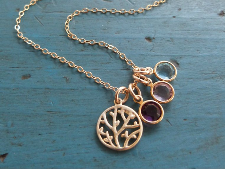 Family Tree Necklace + 3 Birthstones by Vintage Stamp Jewels - 3