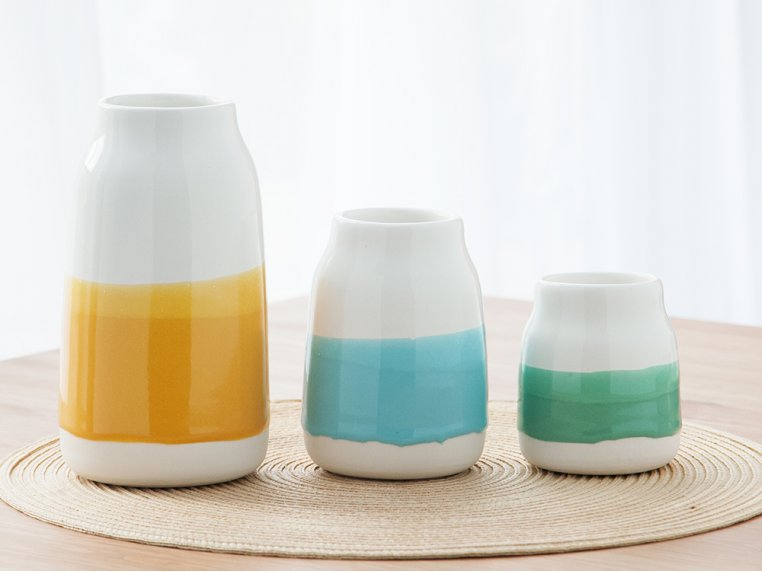 Set of 3 Porcelain Milk Vases by Robert Siegel Studio - 5
