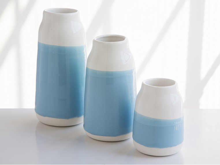 Set of 3 Porcelain Milk Vases by Robert Siegel Studio - 4