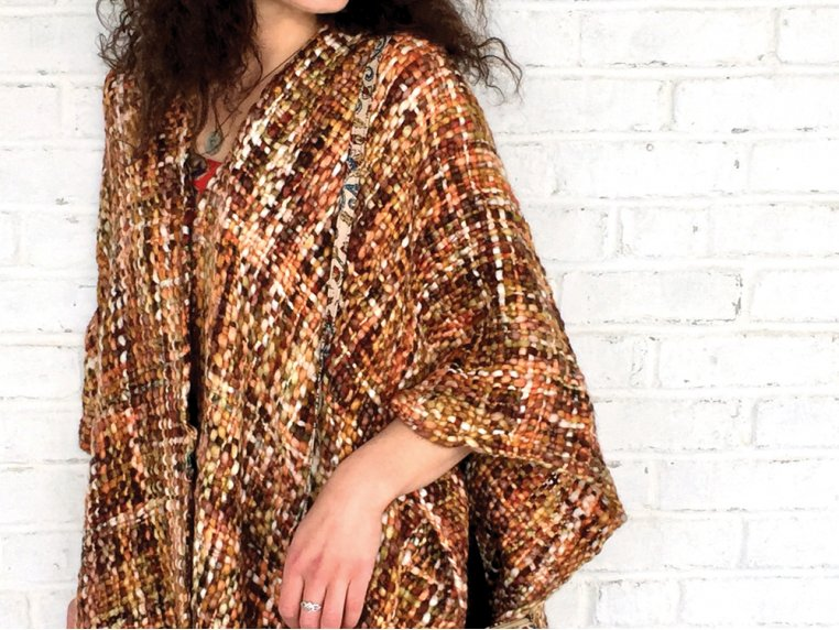 Chunky Knit Ruana - Brown by Rising Tide - 4