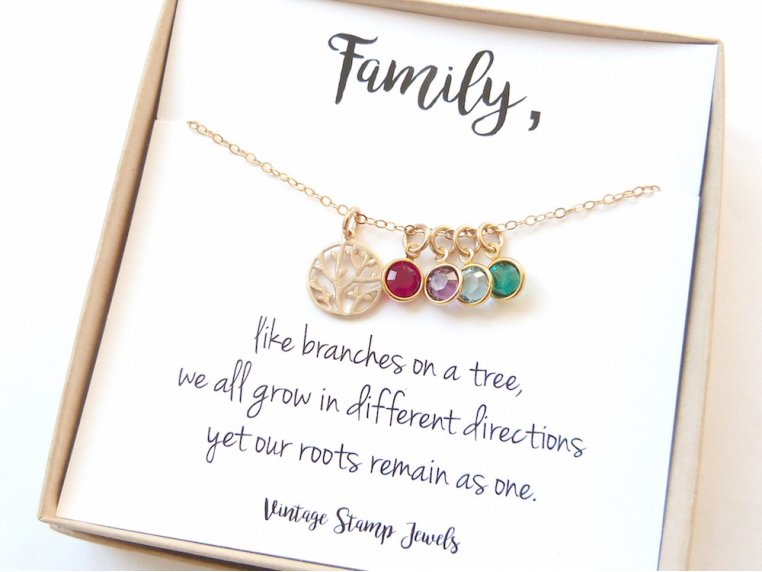 Family Tree Necklace + 6 Birthstones by Vintage Stamp Jewels - 6