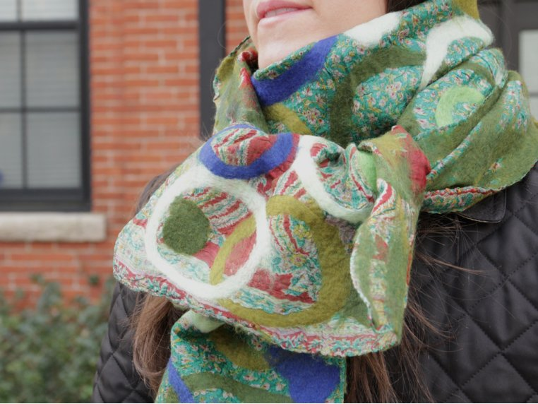 Blue/Green Circle Scarf by The Red Sari - 1