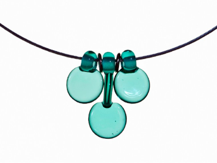 3 Disc Necklace & Earrings Set by FormFire Glassworks - 6